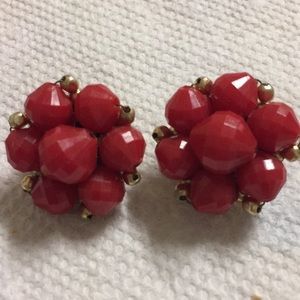 Red Beaded Clip Earrings